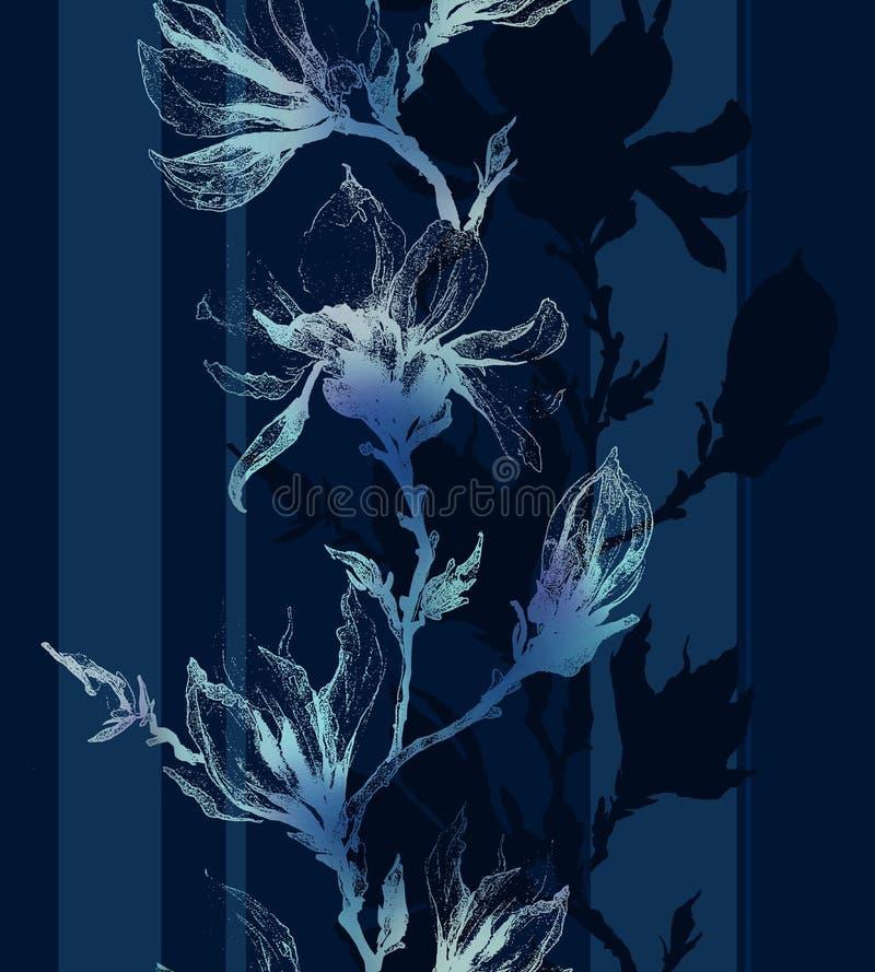 Den ljusa konturen av magnolian blommar på en fatta och vertikala linjer nolla stock illustrationer