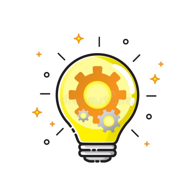 Den ljusa kulan utrustar symbolsdesign, teknologi och teknikconcep vektor illustrationer