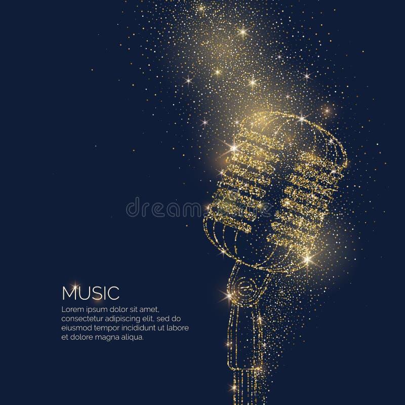 Den ljusa musikaffischen med mikrofonen av blänker stället för text också vektor för coreldrawillustration royaltyfri illustrationer