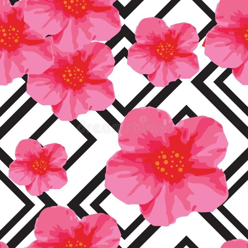 Den ljusa rosa färgen blommar den sömlösa modellen med den geometriska prydnaden svarta band också vektor för coreldrawillustrati royaltyfri illustrationer