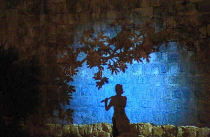 Den ljusa showen på tornet av David arkivfoto