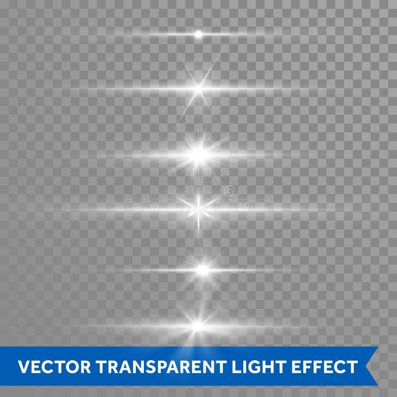 Den ljusa skeneffekt eller vektorn för stjärnljuslinssignalljus isolerade genomskinlig bakgrund för symboler royaltyfri illustrationer