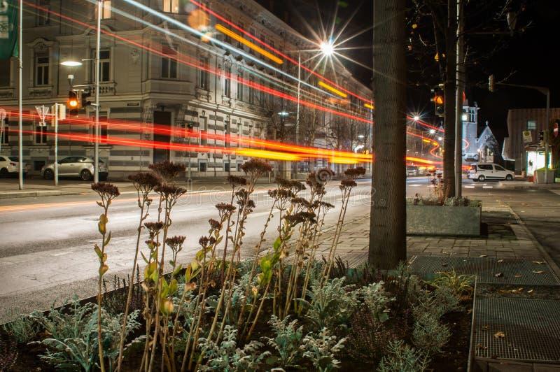 den ljusa staden few tänder många omslag för utelivvägtaxis royaltyfria foton