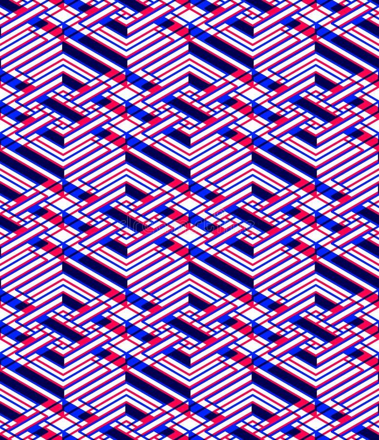 Den ljusa symmetriska sömlösa modellen med väver samman diagram Conti vektor illustrationer