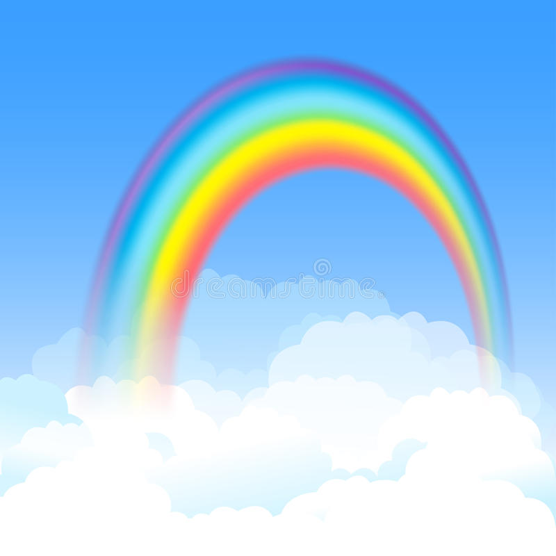 Den ljusa välvda regnbågen med blå himmel och vit fördunklar vektor vektor illustrationer