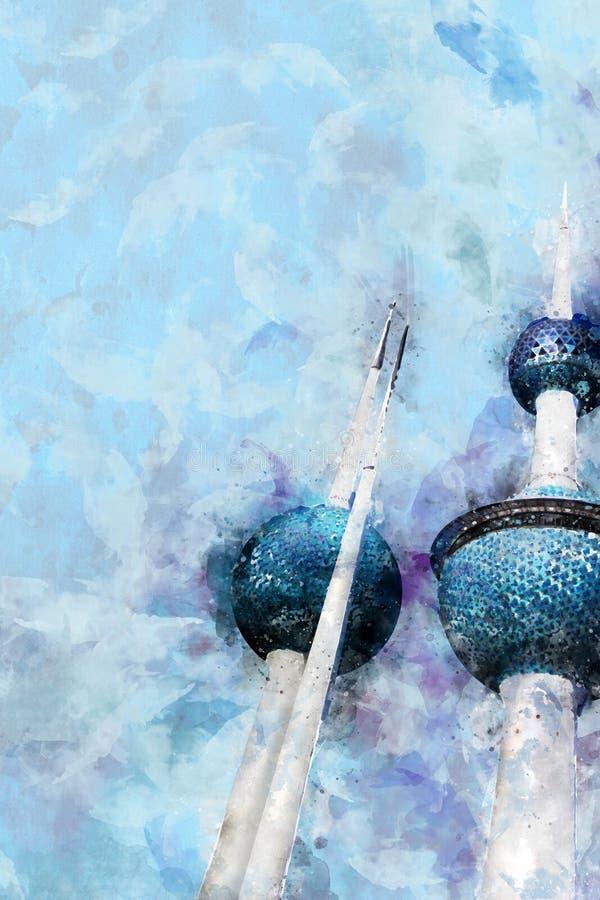 Den ljusa vattenfärgstilillustrationen av Kuwait står högt Landmar vektor illustrationer