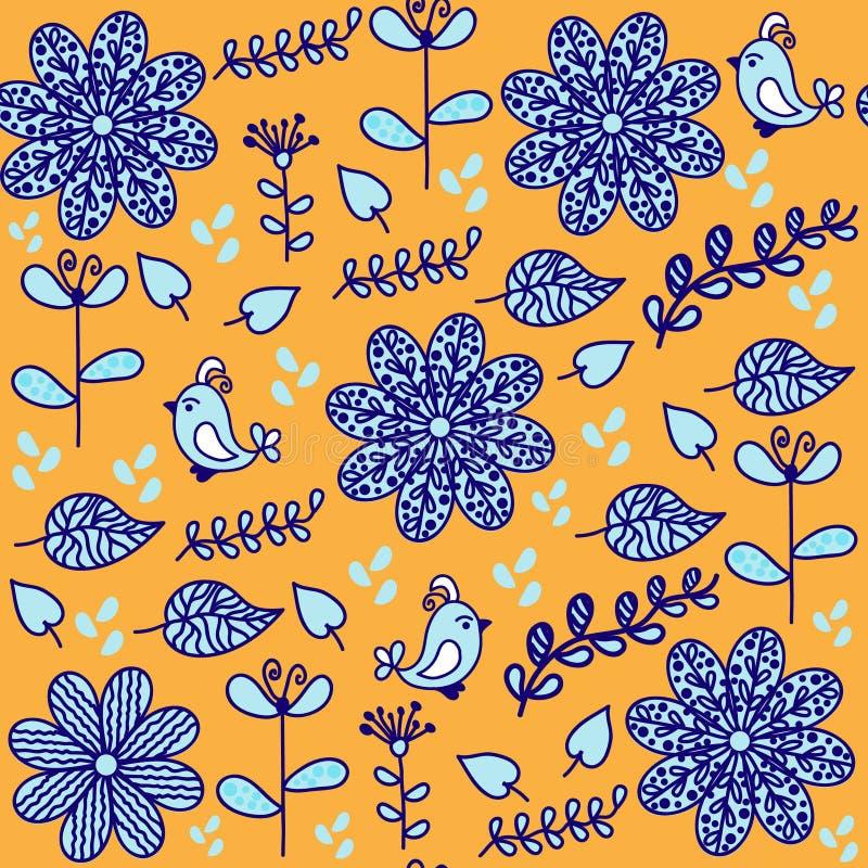 Den ljust blom- sömlösa modellen med gulliga fåglar och sömlöst klappar royaltyfri illustrationer