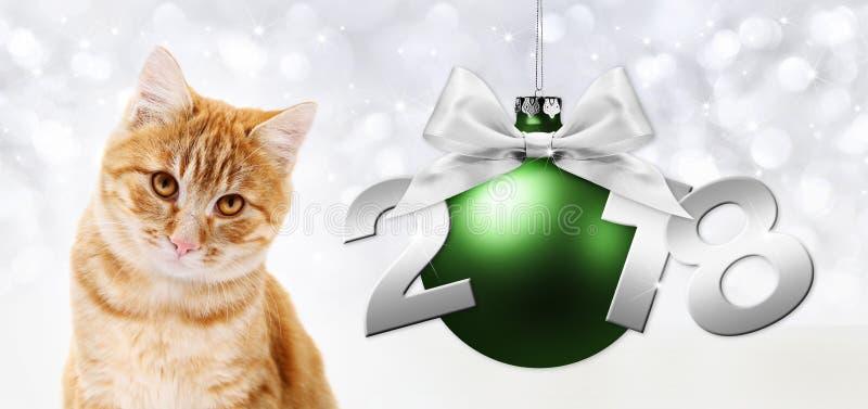 Den ljust rödbrun katten och grön jul klumpa ihop sig med bandpilbågen vektor illustrationer