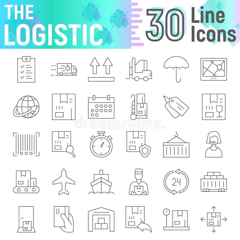 Den logistiska tunna linjen symbolsuppsättningen, leveranssymboler samlingen, vektor skissar, logoillustrationer som sänder tecke vektor illustrationer