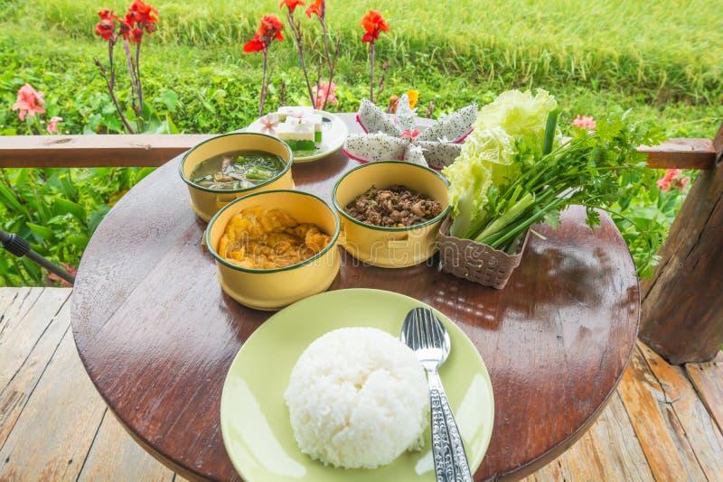 Den lokala maten ställde in thai stil från Nan, Thailand fotografering för bildbyråer