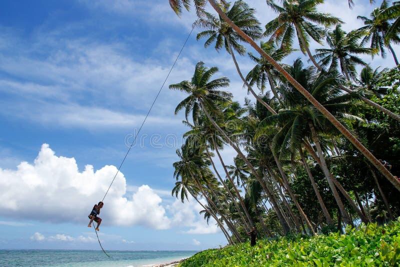 Den lokala pojken som svänger på en repgunga i den Lavena byn, Taveuni är royaltyfri foto