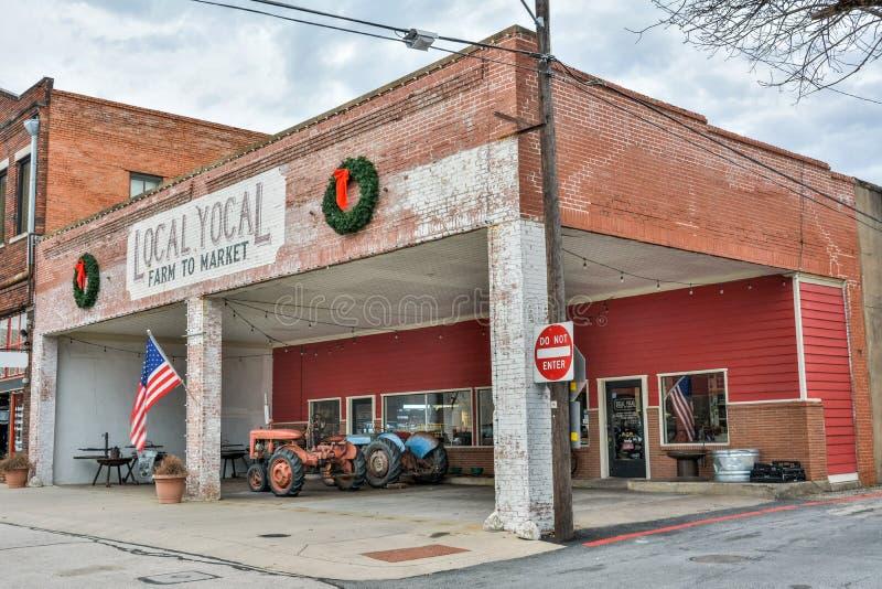 Den lokalYocal bonden shoppar i McKinney, TX arkivfoton