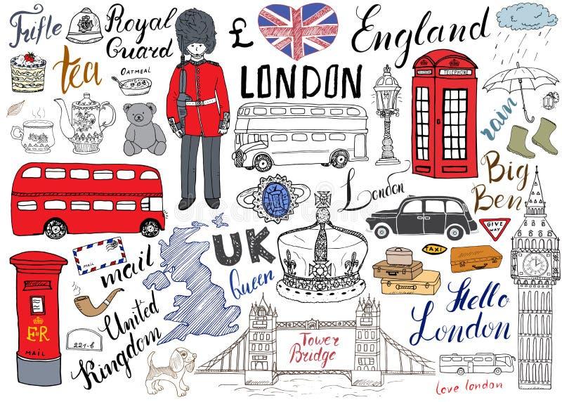 Den London staden klottrar beståndsdelsamlingen Hand dragen uppsättning med, tornbro, krona, stora ben, kunglig vakt, röd buss oc royaltyfri illustrationer