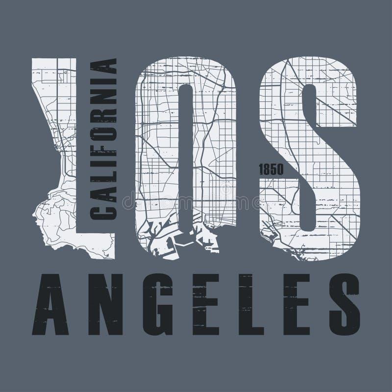 Den Los Angeles t-skjortan och dräktvektorn planlägger, skrivar ut, typografi vektor illustrationer