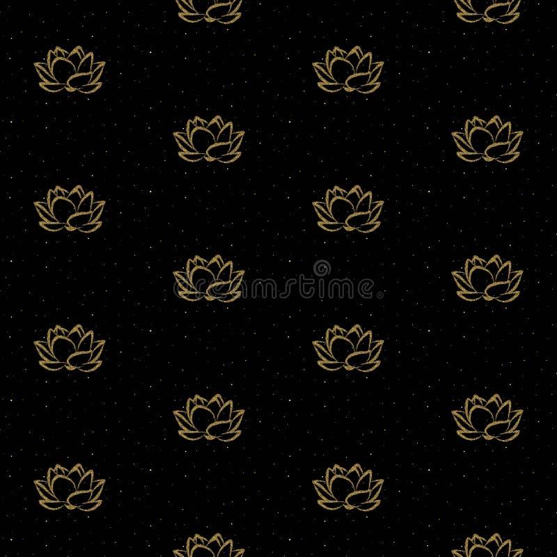 Den Lotus blomman med guld blänker den sömlösa vektormodellen vektor illustrationer