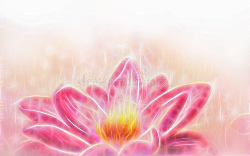 Den Lotus blomman och vit cirklar effekt för fractal för collage för bokeh- och vitmistillustration stock illustrationer