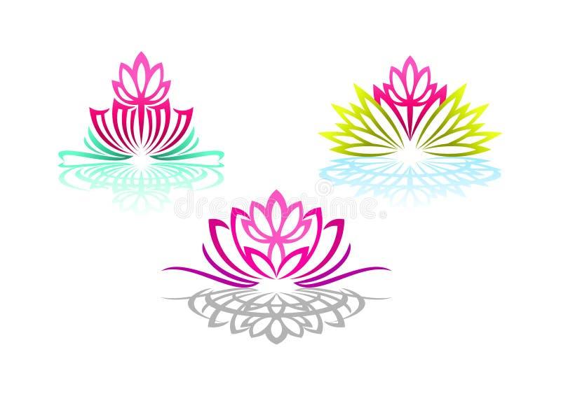 Den Lotus logoen, kvinnayoga, skönhetblommamassagen, nätt brunnsortavkänning, reflexionswellnessen och naturliga kopplar av begre vektor illustrationer