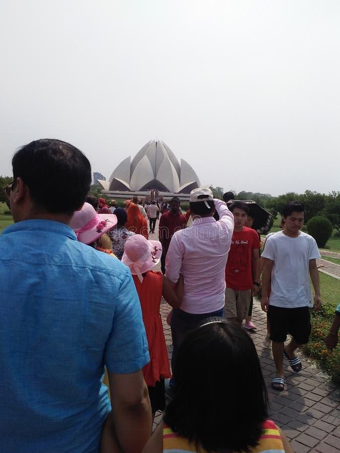 Den Lotus templet Delhi Indien är det ett turist- ställe arkivbild