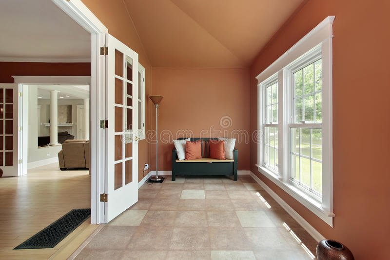 Den in luxury home stock images