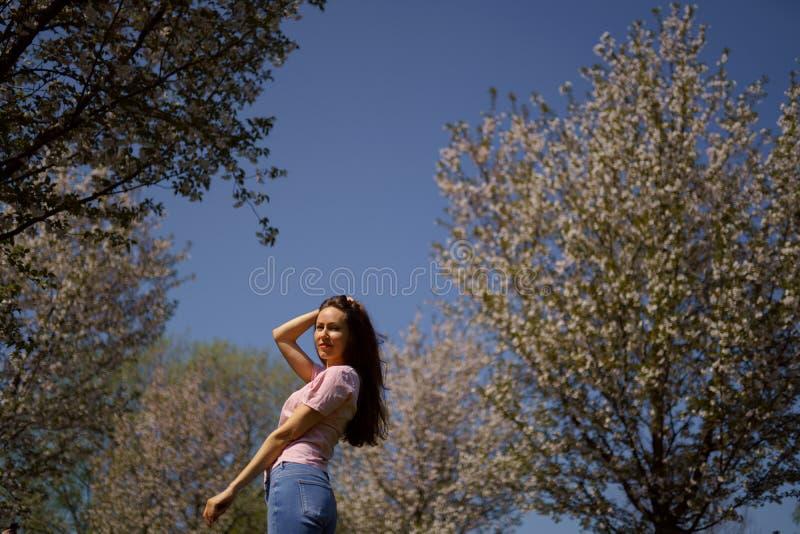 Den lyckade aff?rskvinnan tycker om hennes fritid som fri tid i parkerar med att blomstra sakura k?rsb?rsr?da tr?d som b?r jeans, royaltyfri fotografi