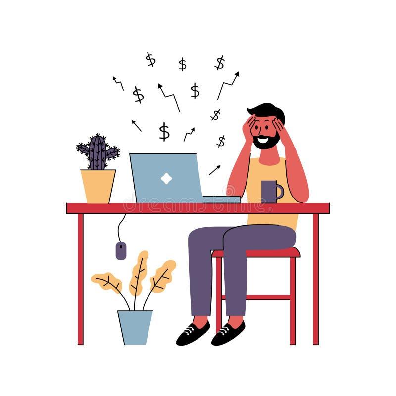 Den lyckade manfreelanceren arbetar hemma också vektor för coreldrawillustration royaltyfri illustrationer