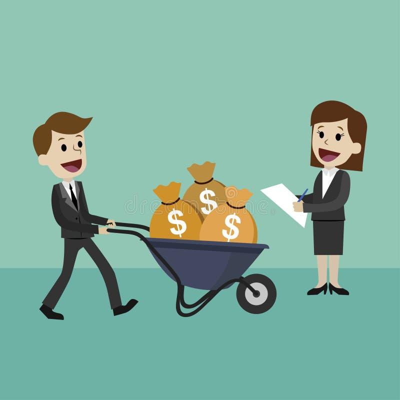 Den lyckliga affärsmannen eller chefen går med en skottkärra som är full av kassa Affärskvinnan hjälper hennes kollega vektor illustrationer
