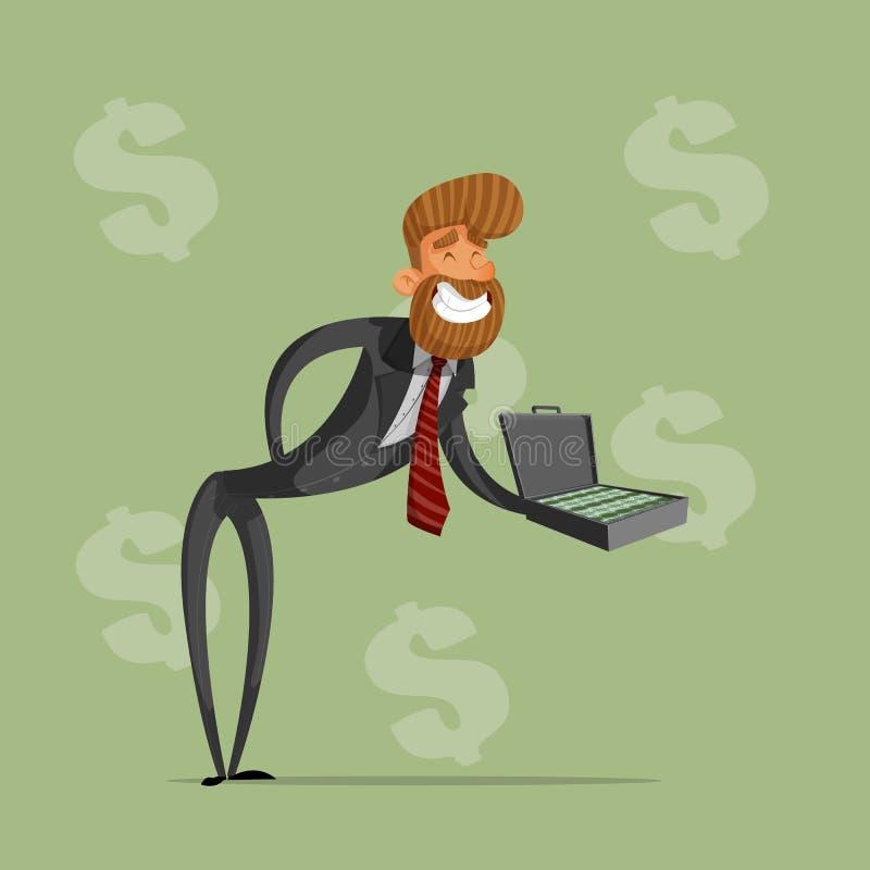 Den lyckliga affärsmannen eller chefen rymmer en portfölj av pengar, erbjuder en muta klar vektor för nedladdningillustrationbild stock illustrationer