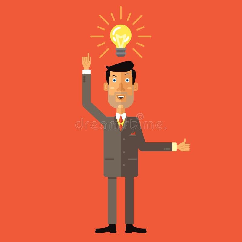 Den lyckliga affärsmannen med tummar får upp idén Plan vektorillustration stock illustrationer