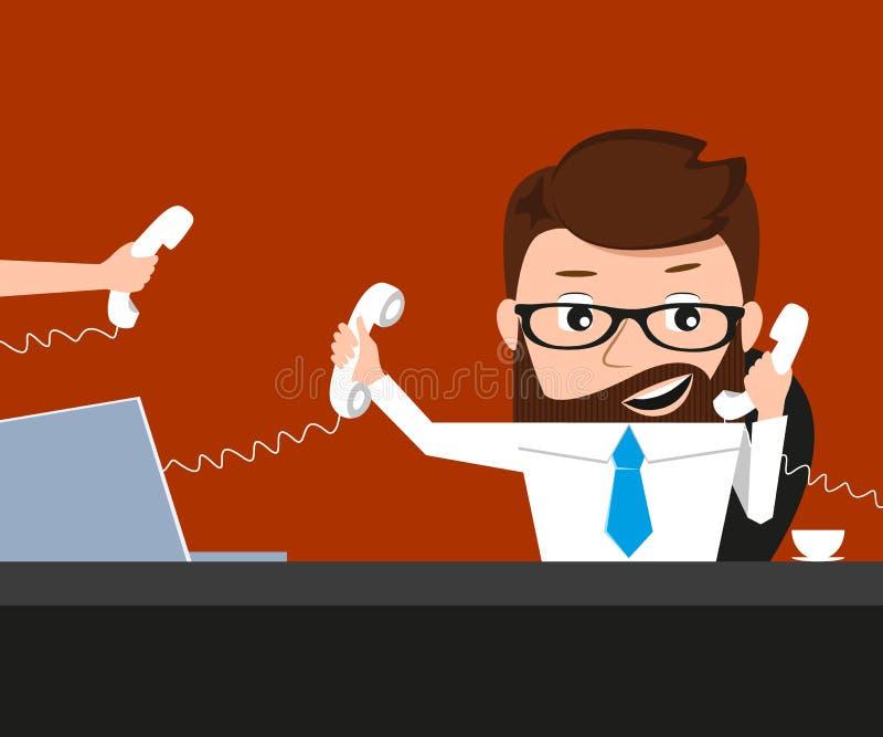 Den lyckliga affärsmannen talar via tre telefoner stock illustrationer