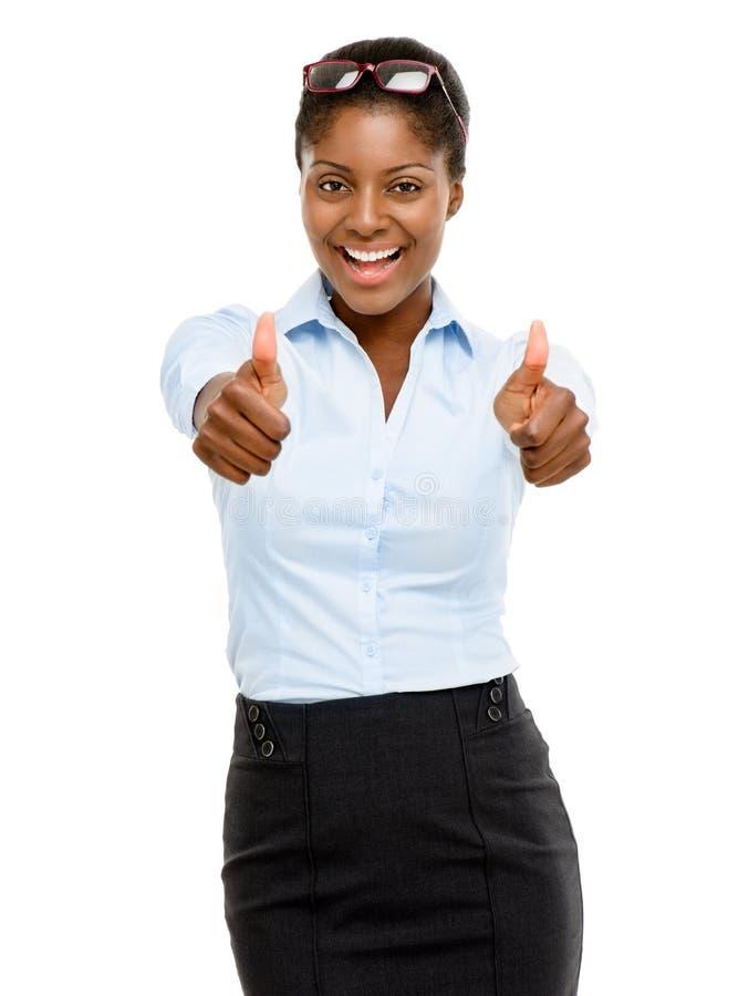 Den lyckliga afrikansk amerikanaffärskvinnan tummar upp isolerat på vit arkivfoto