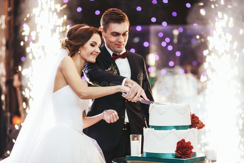 Den lyckliga bruden och brudgummen klippte bröllopstårtan framtill av firew arkivbilder