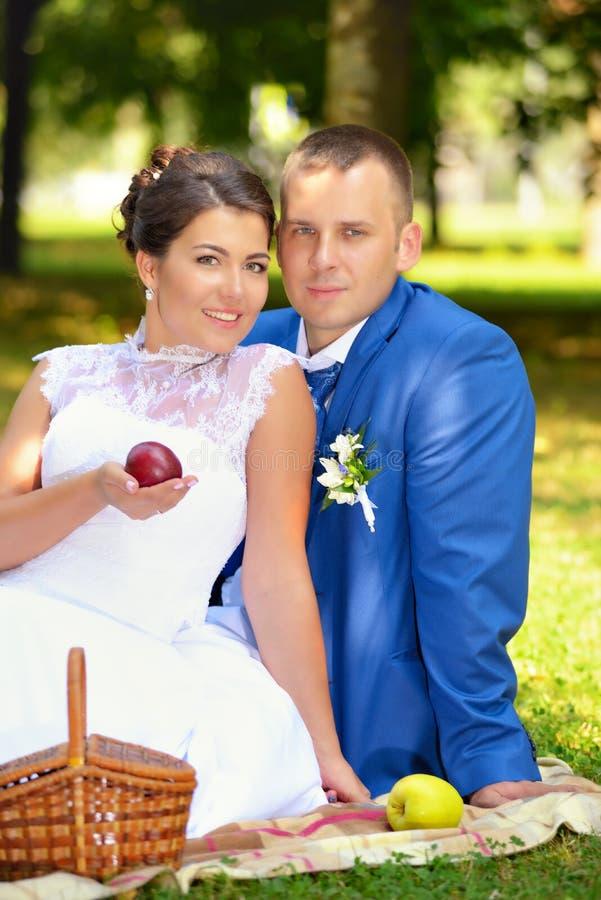 Den lyckliga bruden och brudgummen på deras bröllop sitter på gräset parkerar in royaltyfri fotografi