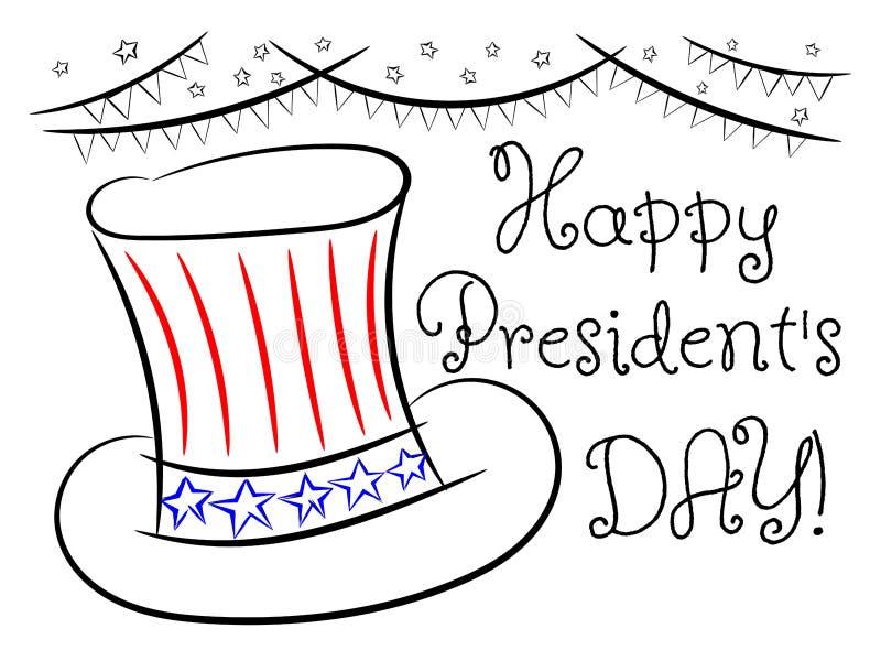 Den lyckliga dagen för president` s skissar det isolerade hälsningkortet royaltyfri illustrationer