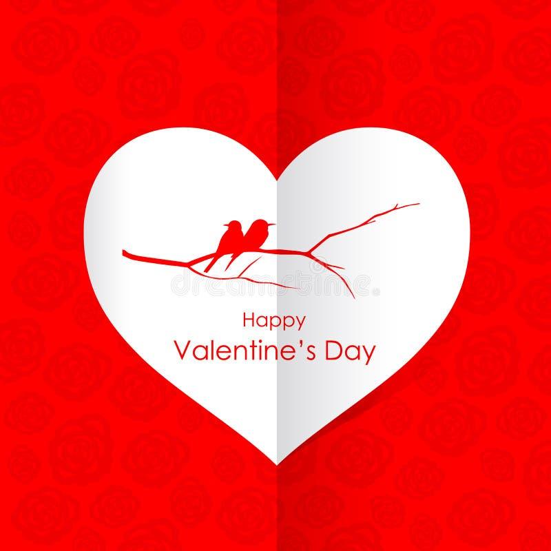 Den lyckliga dagen för valentin` s med parfågeln förgrena sig i vitbokhjärta på röd design för rosbakgrundsvektor royaltyfri illustrationer