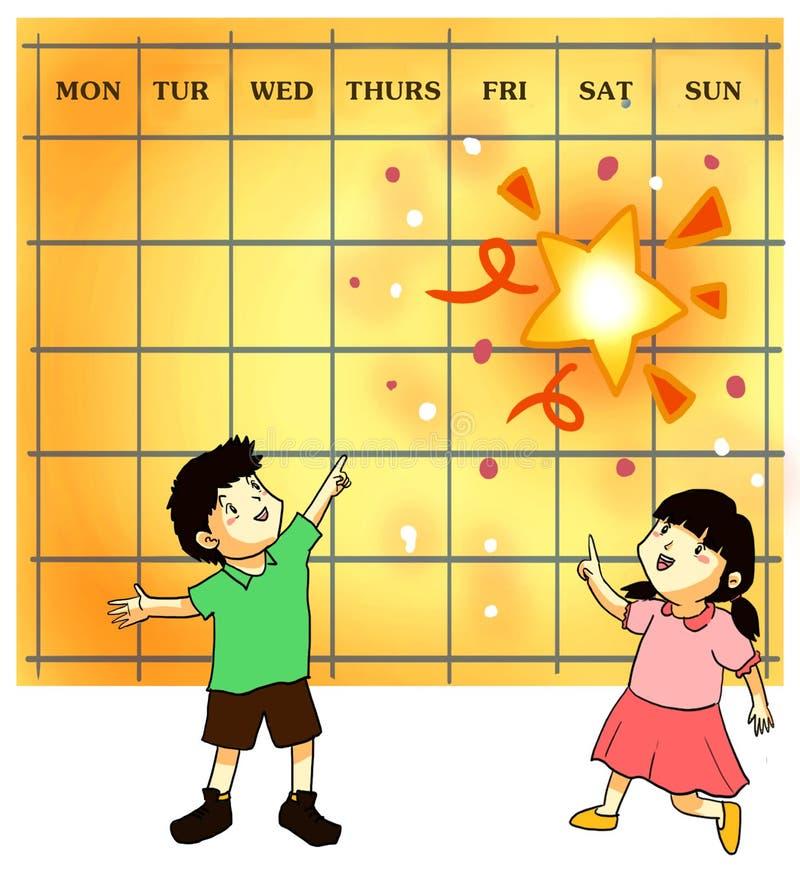 Den lyckliga dagen tillbringar veckoslutet på royaltyfri illustrationer