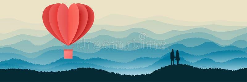 Den lyckliga designen för illustrationen för vektorn för valentindagtypografi med för hjärtaform för pappers- snitt röd origami g vektor illustrationer