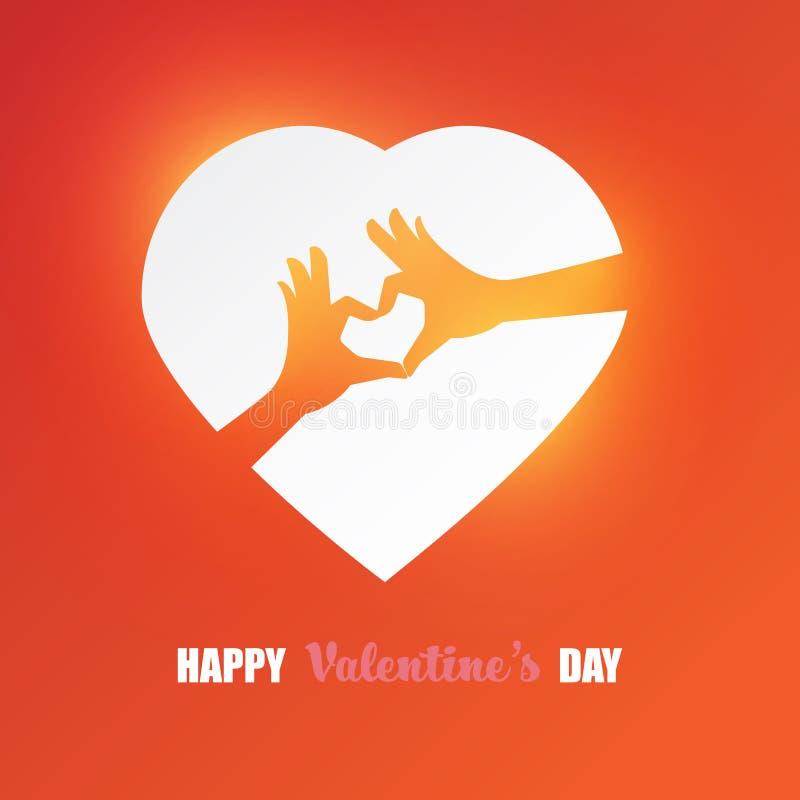 Den lyckliga designen för kortet för hälsningar för valentindagvektorn med två händer gör hjärtasymbol i abstrakt hjärtaform royaltyfri illustrationer