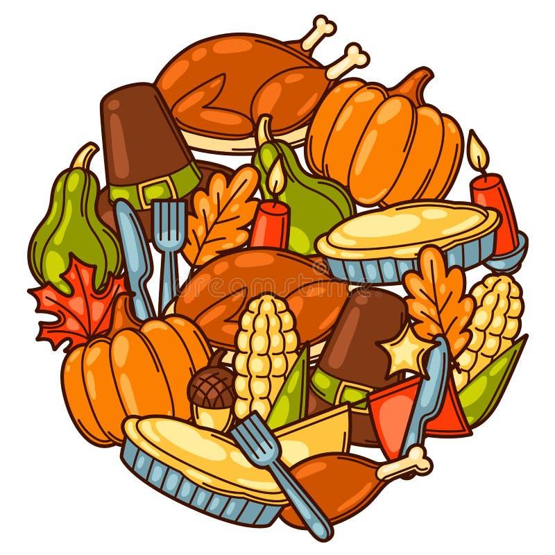 Den lyckliga designen för tacksägelsedagbakgrund med ferie anmärker stock illustrationer