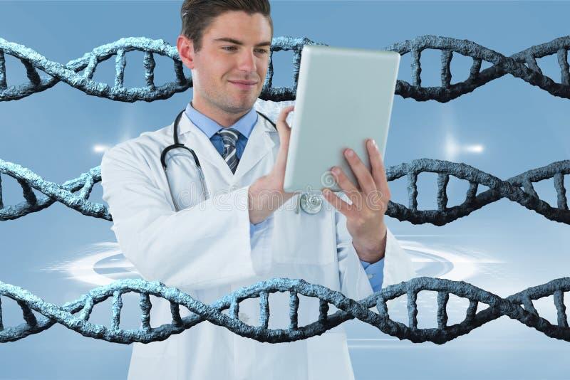 Den lyckliga doktorsmannen som använder en minnestavla med DNA:t 3D, strandar royaltyfri illustrationer
