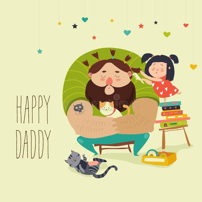 Den lyckliga dottern gör en frisyr för farsa vektor illustrationer