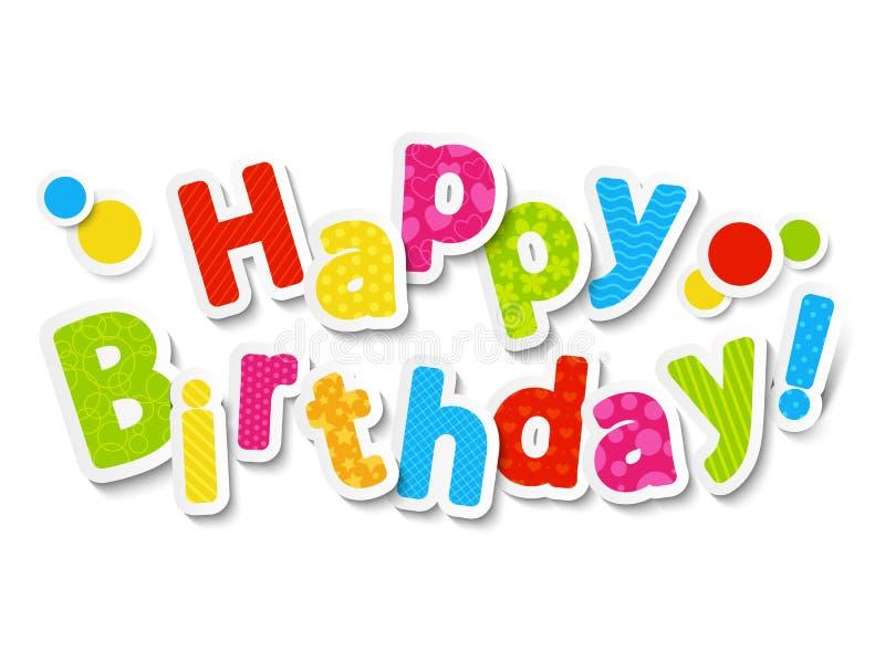 Den lyckliga födelsedagen färgar märker vektor illustrationer