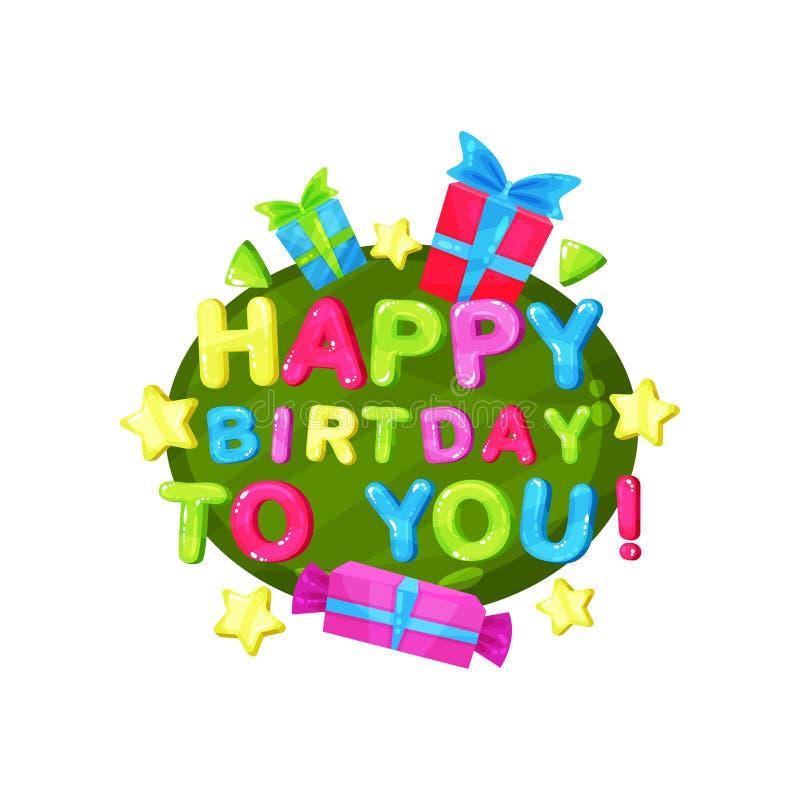 Den lyckliga födelsedagen till dig logomallen, designbeståndsdelen för inbjudan, partibanret, dagiset, ungar hyr rum färgrikt royaltyfri illustrationer