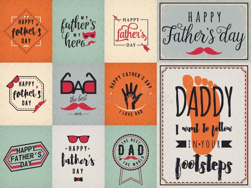 Den lyckliga faderdagen önskar bakgrund som märker etikettdesignuppsättningen royaltyfri illustrationer