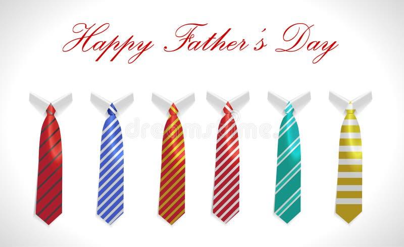 Den lyckliga faderdagen, hälsningkortet med laget och slipsen ställde in royaltyfri illustrationer