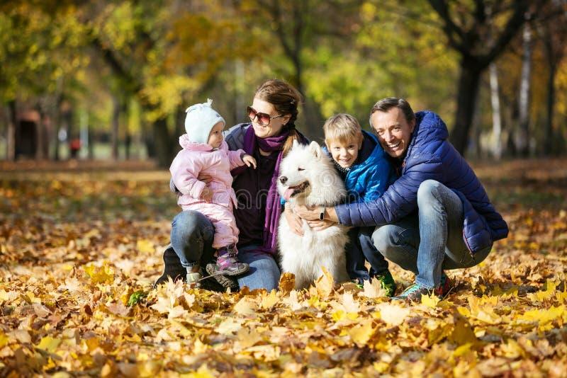 Den lyckliga familjen av fyra går på med samoyed som hunden parkerar in arkivfoton