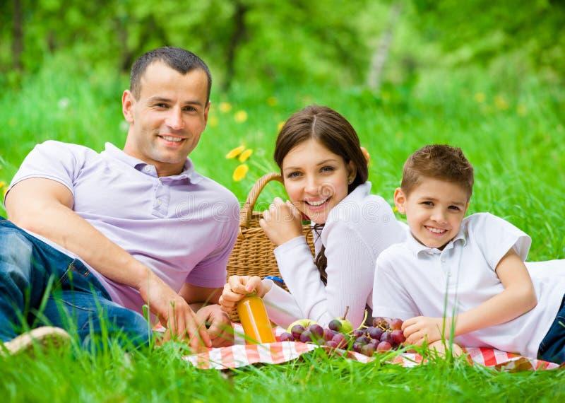 Den lyckliga familjen av tre har picknicken in att parkera royaltyfri bild