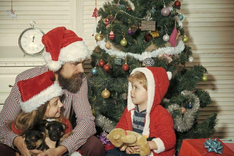 Den lyckliga familjen firar nytt år och jul arkivbild