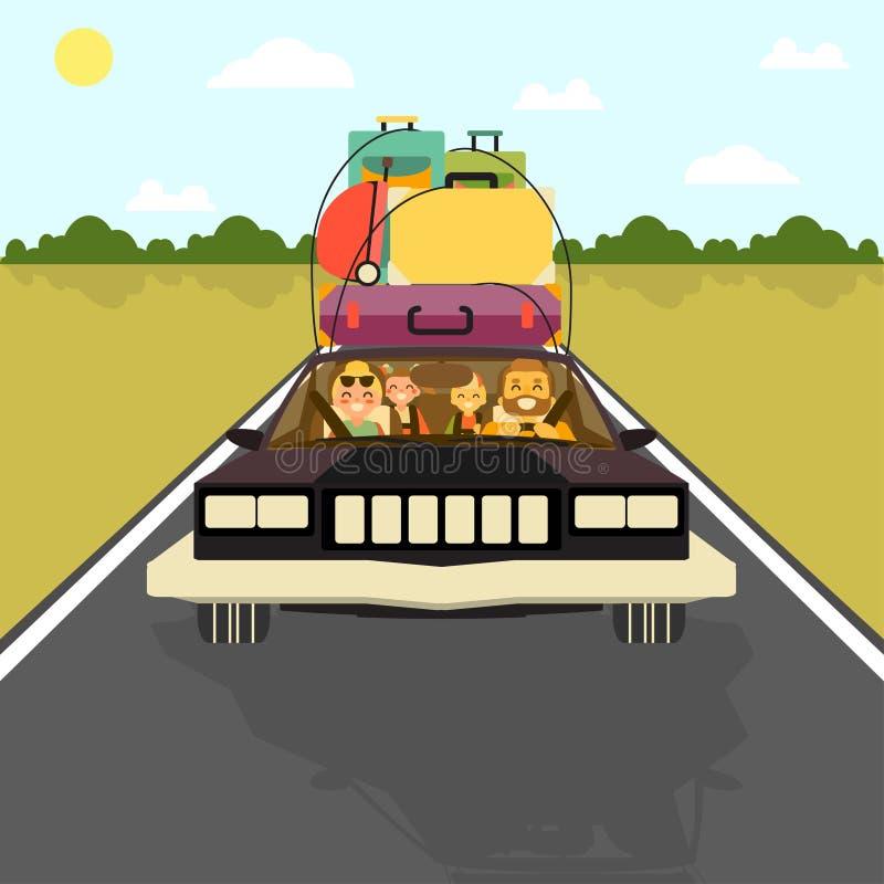 Den lyckliga familjen går på semester med bilen med allt deras bagage Vektorillustration i plan stildesign Tecknad filmfolk royaltyfri illustrationer