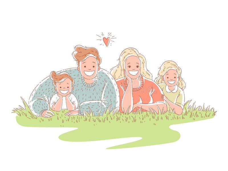 Den lyckliga familjen ligger på gräset Föräldrar spenderar tid med barn hand drog illustrationer f?r stilvektordesign vektor illustrationer