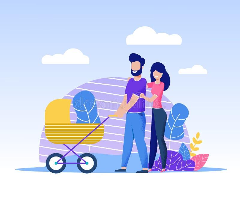 Den lyckliga familjen med nyfött spenderar Tid tillsammans vektor illustrationer